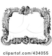 Royalty Free RF Clipart Illustration Of A Vintage Black And White Victorian Border Frame With Flowers by BestVector