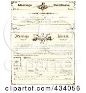 Royalty Free RF Clipart Illustration Of A Digital Collage Of Vintage Marriage Certificates by BestVector