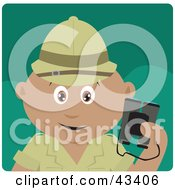 Clipart Illustration Of A Hispanic Explorer Holding Binoculars On A Safari by Dennis Holmes Designs