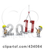 Royalty Free RF Clipart Illustration Of 3d Construction Worker White Characters Replacing The Old Year With The New Year