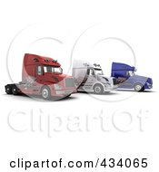 Royalty Free RF Clipart Illustration Of 3d Big Rig Trucks With An American Flag Decals by KJ Pargeter