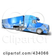 Royalty Free RF Clipart Illustration Of A 3d Blue Big Rig Truck With Winter Decals
