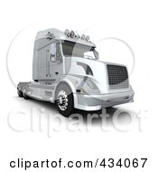 Royalty Free RF Clipart Illustration Of A 3d Silver Semi Truck by KJ Pargeter