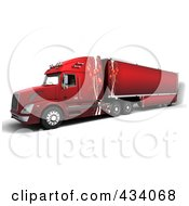 Royalty Free RF Clipart Illustration Of A 3d Red Big Rig Truck With Christmas Ornament Decals
