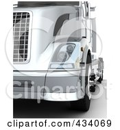 Royalty Free RF Clipart Illustration Of A Closeup Of A 3d Silver Semi Truck