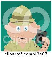 Clipart Illustration Of A Caucasian Explorer Holding Binoculars On A Safari by Dennis Holmes Designs