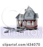 Royalty Free RF Clipart Illustration Of A 3d Home With Drafting Tools On Graph Paper