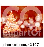 Royalty Free RF Clipart Illustration Of A Sparkly Red Christmas Tree Background