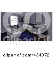 Royalty Free RF Clipart Illustration Of A 3d Classic Bathroom Interior