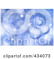 Royalty Free RF Clipart Illustration Of A Blue Glitter Background With Suspended Christmas Ornaments