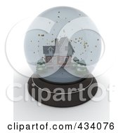 Royalty Free RF Clipart Illustration Of A 3d Snow Globe With A Winter House Inside