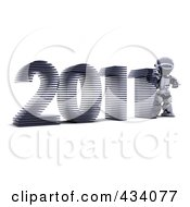 Royalty Free RF Clipart Illustration Of A 3d Robot With The Year 2011