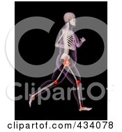 Royalty Free RF Clipart Illustration Of An Xray Of An Overweight Female Skeleton Running With Pressure Points