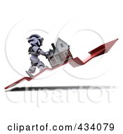 3d White Character Pushing His Home Up On An Upswing Arrow