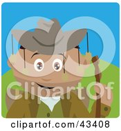 Clipart Illustration Of A Hispanic Boy Wearing An Aussie Hat And Hiking