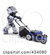 Royalty Free RF Clipart Illustration Of A 3d Robot Pushing A Lawn Mower by KJ Pargeter