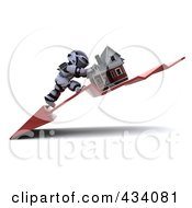Royalty Free RF Clipart Illustration Of A 3d White Character Pushing His Home Up On A Downswing Arrow