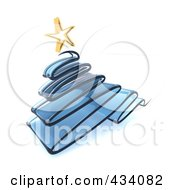 Royalty Free RF Clipart Illustration Of A 3d Blue Glass Scribble Christmas Tree