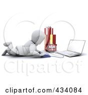 Royalty Free RF Clipart Illustration Of A 3d White Character Christmas Shopping Online On The Floor by KJ Pargeter