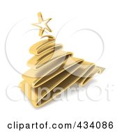 Royalty Free RF Clipart Illustration Of A 3d Gold Scribble Christmas Tree