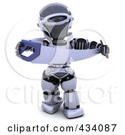 Royalty Free RF Clipart Illustration Of A 3d Robot Holding A Saw
