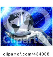 3d Skeletal Hand Holding A Transparent Globe Over Blue Binary