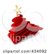 Royalty Free RF Clipart Illustration Of A 3d Red Scribble Christmas Tree