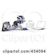 Royalty Free RF Clipart Illustration Of A 3d Robot Using A Laptop On The Floor By A Shopping Basket by KJ Pargeter