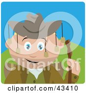 Clipart Illustration Of A Caucasian Boy Wearing An Aussie Hat And Hiking