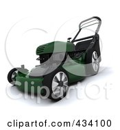 Royalty Free RF Clipart Illustration Of A 3d Green Lawn Mower by KJ Pargeter