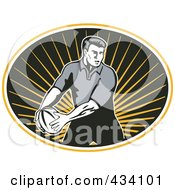 Royalty Free RF Clipart Illustration Of A Rugby Player Icon 5