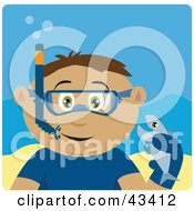 Clipart Illustration Of A Latin American Boy Snorkeling And Holding A Fish by Dennis Holmes Designs