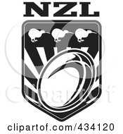Royalty Free RF Clipart Illustration Of A New Zealand Rugby Icon 3 by patrimonio