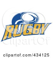 Royalty Free RF Clipart Illustration Of A Rugby Ball And Text