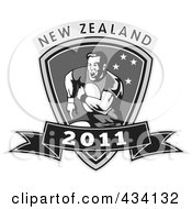 Royalty Free RF Clipart Illustration Of A New Zealand Rugby Icon 1 by patrimonio