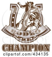 Royalty Free RF Clipart Illustration Of A Rodeo Champion Icon