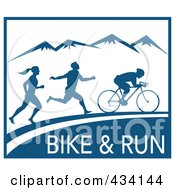 Royalty Free RF Clipart Illustration Of A Bike And Run Marathon Sign by patrimonio