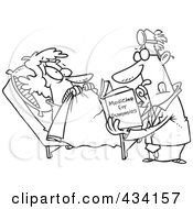 Royalty Free RF Clipart Illustration Of Line Art Of A Cartoon Psychiatrist Reading A Dummy Book To Help A Patient
