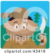 Clipart Illustration Of A Hispanic Frontiersman Holding A Knife And Wearing A Coon Skin Hat