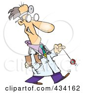 Royalty Free RF Clipart Illustration Of A Cartoon Psychiatrist Playing With A Yo Yo by toonaday