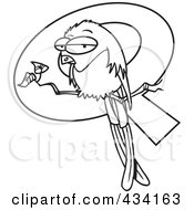Royalty Free RF Clipart Illustration Of Line Art Of A Grouchy Bird Perched In Front Of A Letter Q