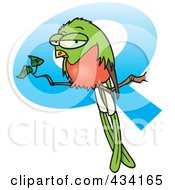Royalty Free RF Clipart Illustration Of A Grouchy Bird Perched In Front Of A Letter Q