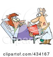 Royalty Free RF Clipart Illustration Of A Cartoon Psychiatrist Reading A Dummy Book To Help A Patient