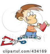 Royalty Free RF Clipart Illustration Of A Boy Holding A Paper Heart
