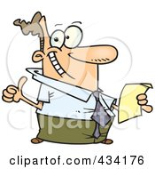 Royalty Free RF Clipart Illustration Of A Happy Cartoon Businessman Holding Year End Reports