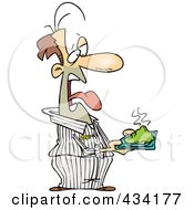 Royalty Free RF Clipart Illustration Of A Disgusted Cartoon Male Prisoner Holding A Plate Of Green Food