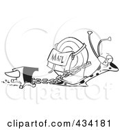 Royalty Free RF Clipart Illustration Of Line Art Of A Snail Mail Carrier With A Heavy Weight