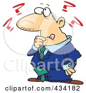 Royalty Free RF Clipart Illustration Of A Cartoon Businessman With Questions