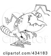 Royalty Free RF Clipart Illustration Of Line Art Of An Alien With A Striped Tail by toonaday