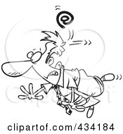 Royalty Free RF Clipart Illustration Of Line Art Of A Email Symbol Whacking A Cartoon Businessman by toonaday
